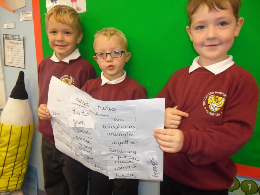We can count the different syllables in words