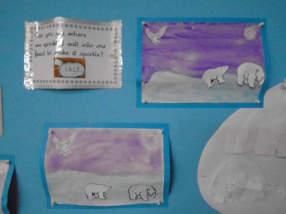 Polar scenes using ink dye, salt and crayon