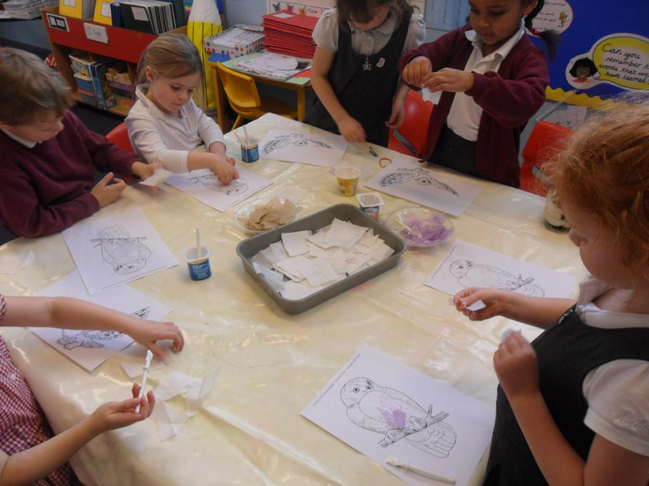 Using collage to create our own Snowy Owls