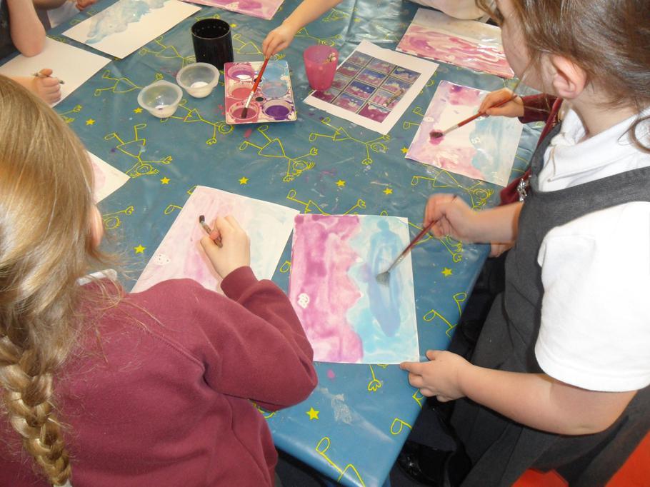 Scenes using a watercolour wash, salt & crayon