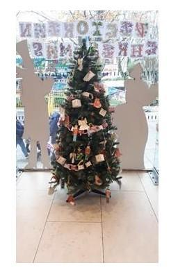 Our Victorian Christmas tree, inside the bank