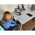 Kizzy enjoying her home learning