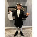 Jack dressed up as Isaac Newton