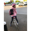 Sophia on a bike ride for her daily exercise