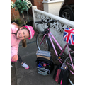 Sophia going on a bike ride for her daily exercise