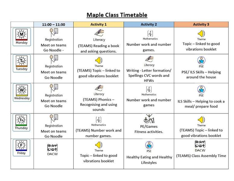 Maple Weekly Timetable