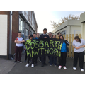 Hawthorn with their class banner ready for the Summer Term opening event 'Going for Gold!'