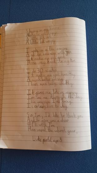 Luke's fantastic poem about Joe Wicks.