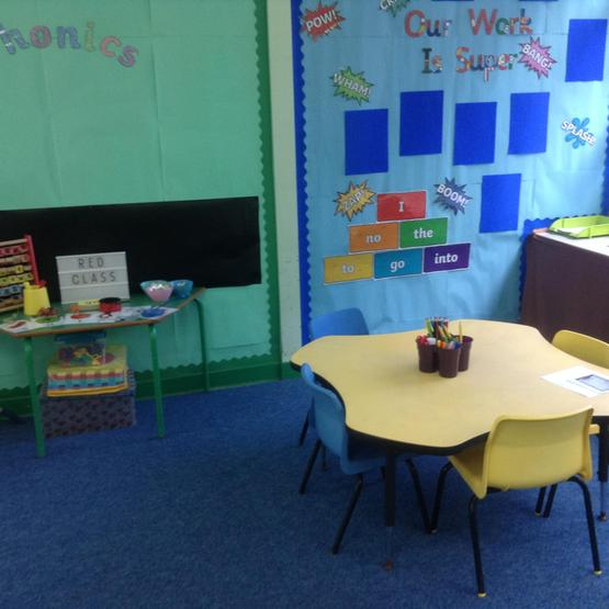 Red  Class writing area