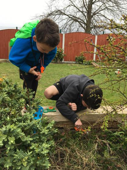 Looking for bugs in the garden.