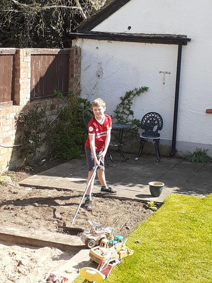 Helping out in the garden