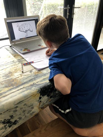 Joseph hard at work on his art