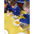 Purple Class: making peach crumble