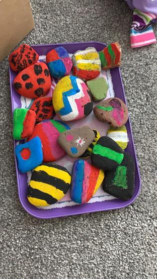 Super colourful painted pebbles