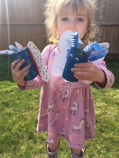 Isla made a super butterfly at home.