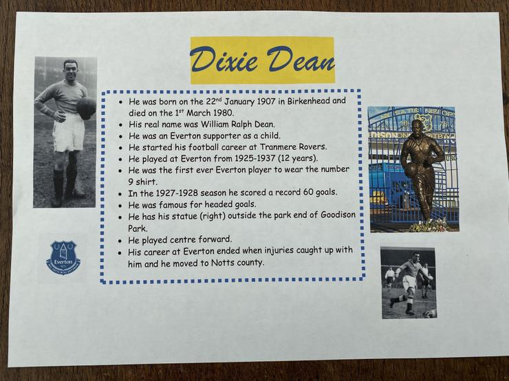 Dixie Dean research.