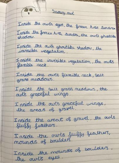 Emma's fabulous poem in the style of Ted Hughes