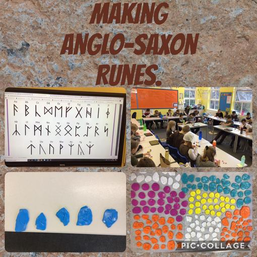 First of all, we researched Anglo Saxon Runes and then we made our own from FIMO.