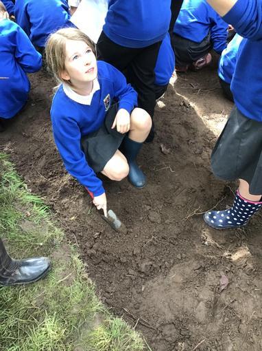 Digging for treasure.