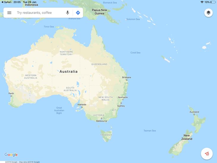 We flew to Australia