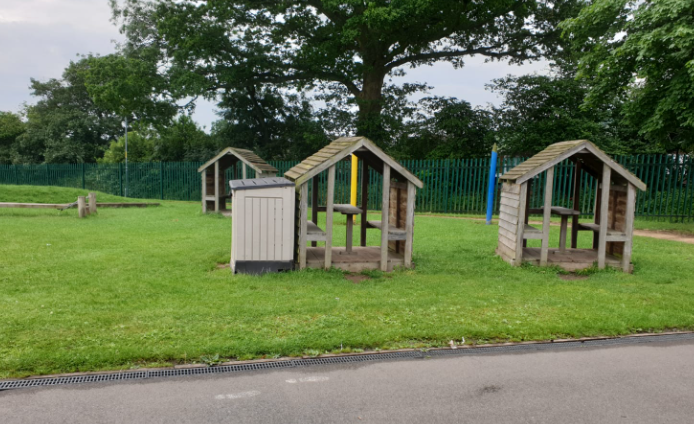 Huts by the KS1 playground