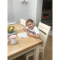 Charlie has been working on his home learning pack