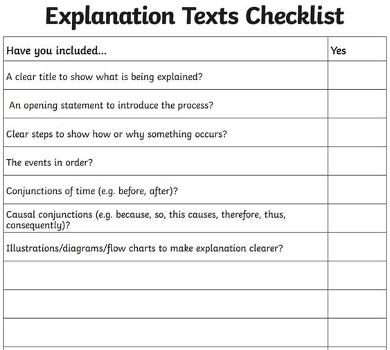 Explanation text checklist
