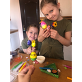 Caroline and Maya busy with some Easter crafts