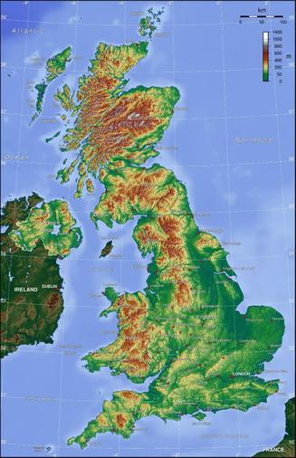 Terrain map - brown = high land / green = low land