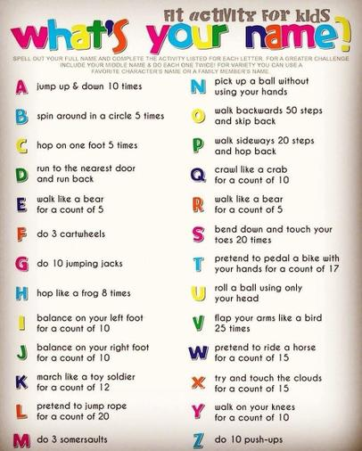 Do a letter workout - try your name!