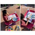 Noor busy working on her amazing Egyptian painting