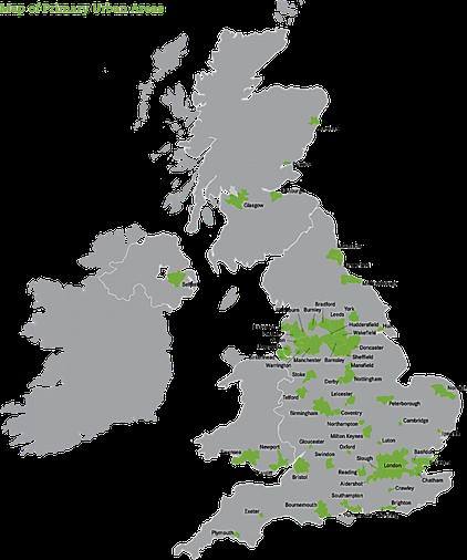 Urban areas (green)