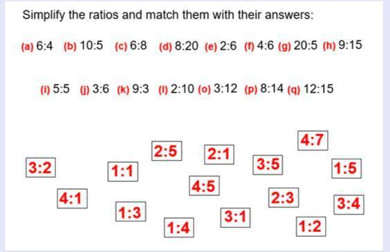 Can you simplify these ratios?