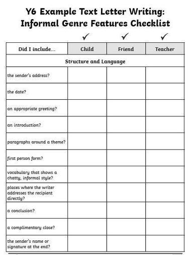 Informal Letter Checklist