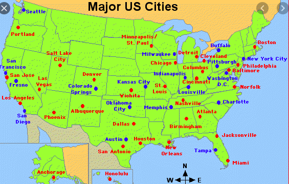 USA cities map - Click Here!