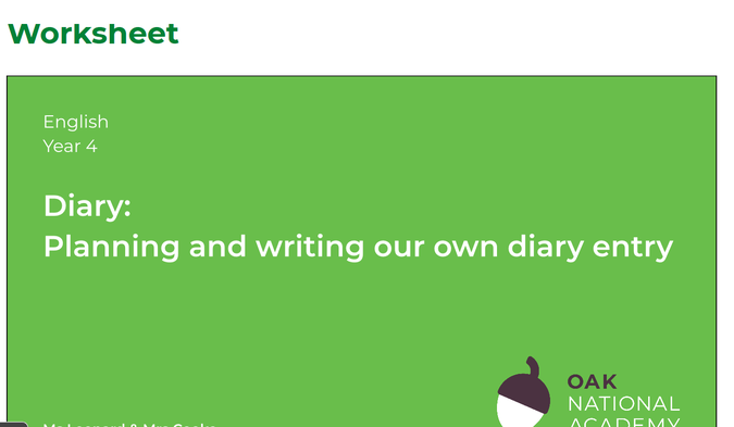 3. Plan and write your diary