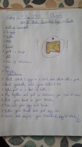 Oliver's scrambled eggs instructions - yum!
