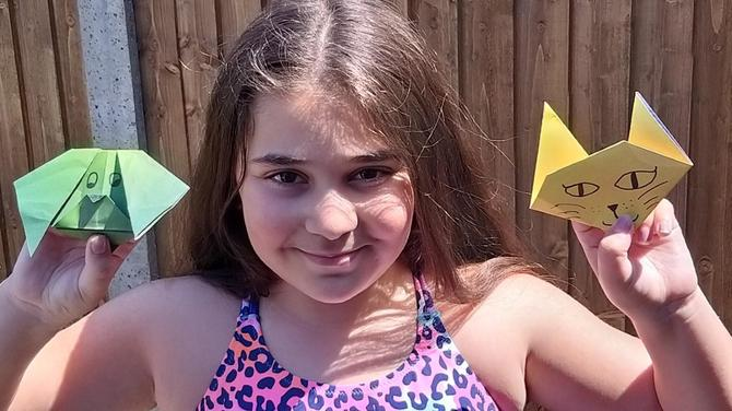 Maria has been following origami instructions!