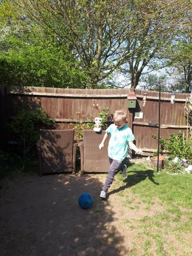 Having a kick around in the garden!