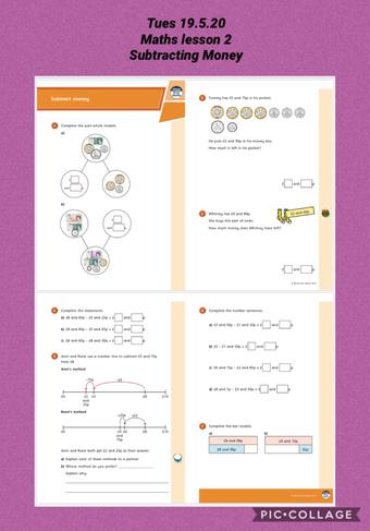 Tuesday 19.5.20 Maths - Subtracting Money