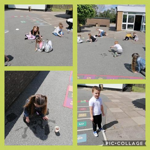 Handwriting outside on the playground with water