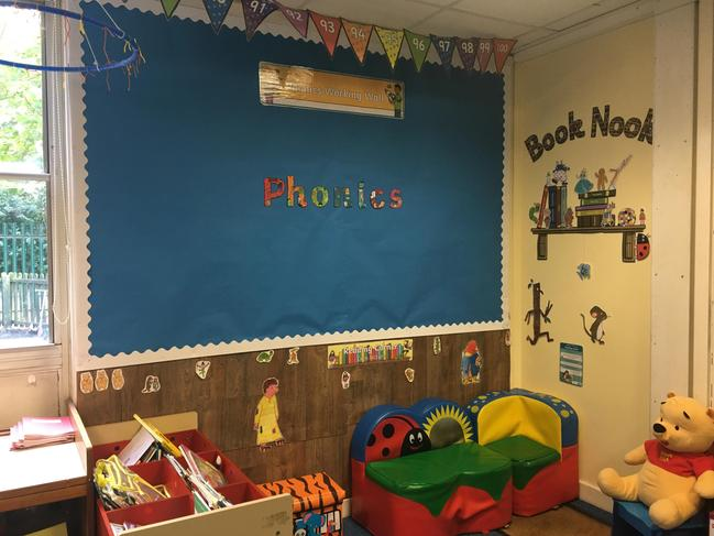Our reading area and phonics wall