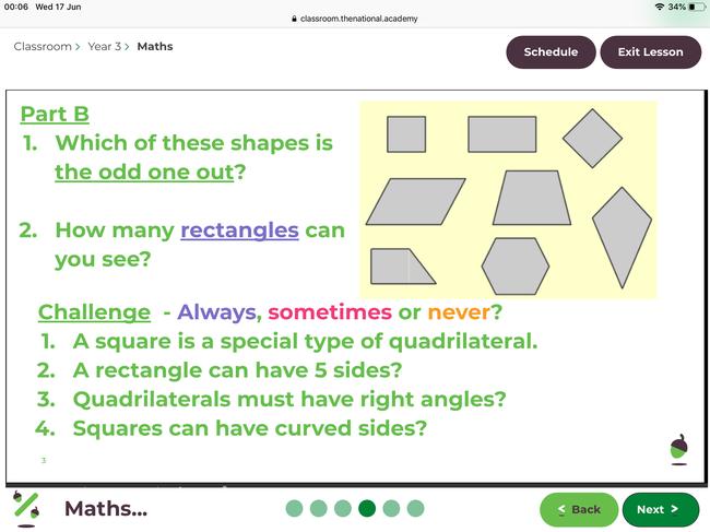 Worksheet example (Quadrilaterals work p2)