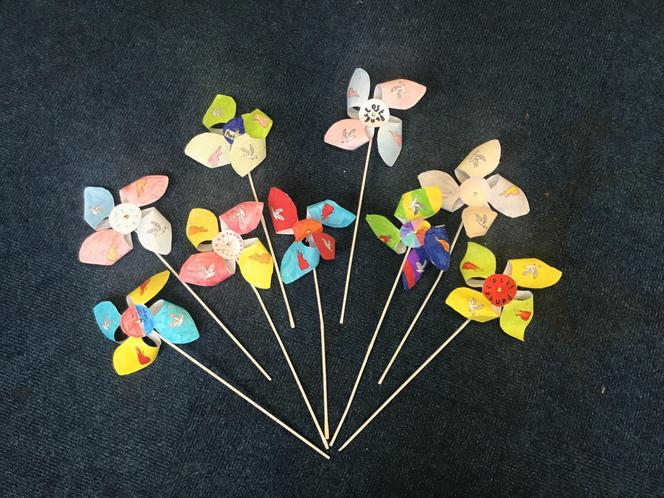 In collective worship, made Pentecost windmills with a partner