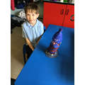 We made lighthouses out of recycled plastic.