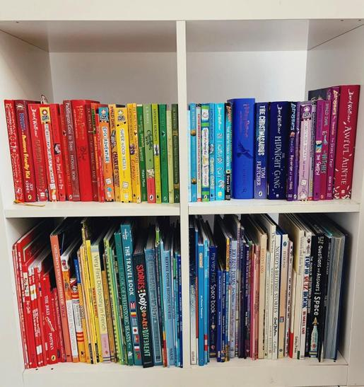 How about making a rainbow within your bookshelf?
