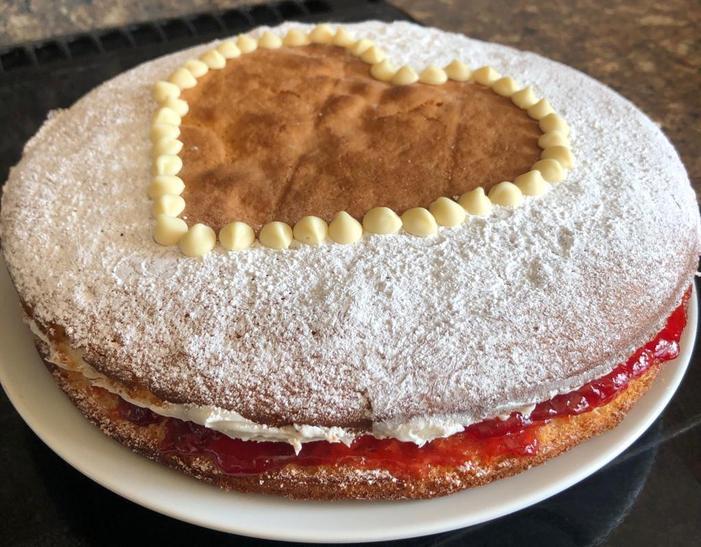 Mrs Guest's Happy Heart Cake