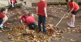 Lunchtime Fun - Sweeping the leaves