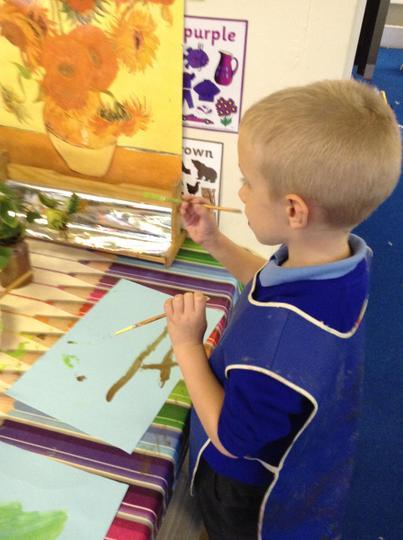 Painting sunflowers like Van Gogh.