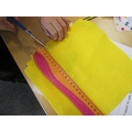 Making a bag for Red Riding Hood.
